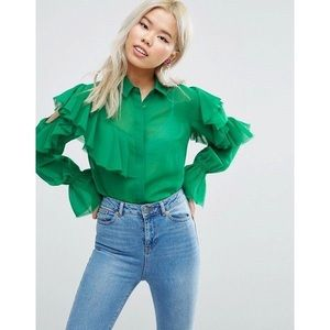 ASOS Deconstructed Ruffle Cold Shoulder Blouse